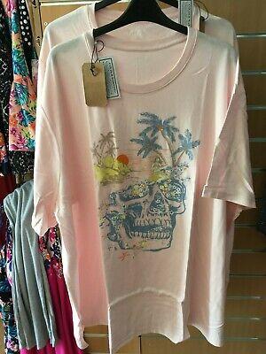 JACAMO SKULL print pink long t-shirt   5XL  bnip