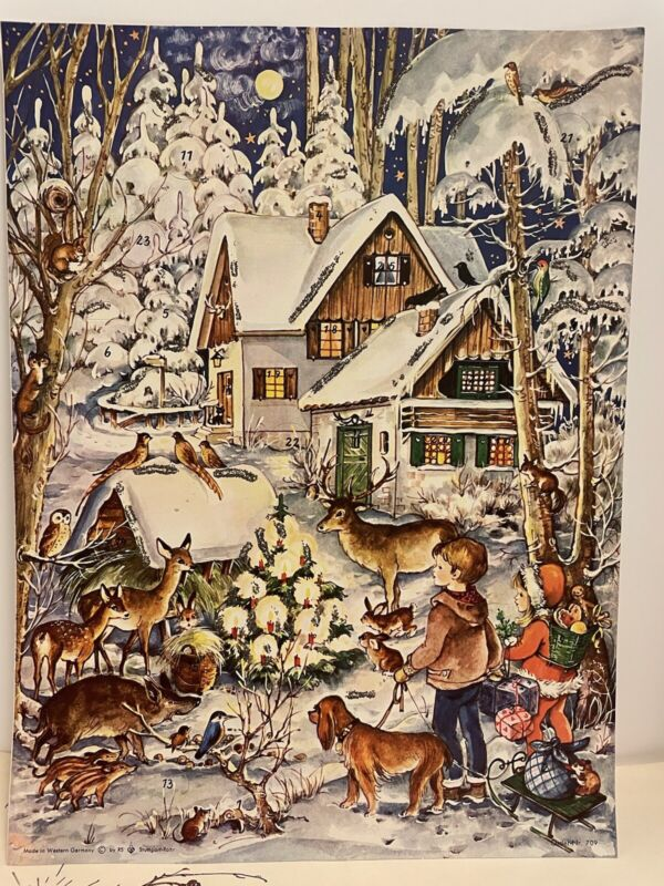 Vintage Christmas Paper Advent Calendar Woodland Scenes Made In West Germany
