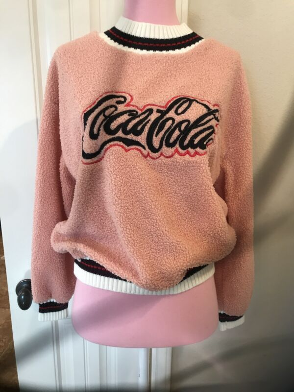 Coca Cola Vintage 80s Long Sleeve Pink Sweater RARE SMall Embroideried