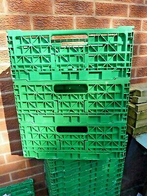 Plastic Storage Crates  x10 Folding Stackable Strong & Durable 400 x 300 x 165mm