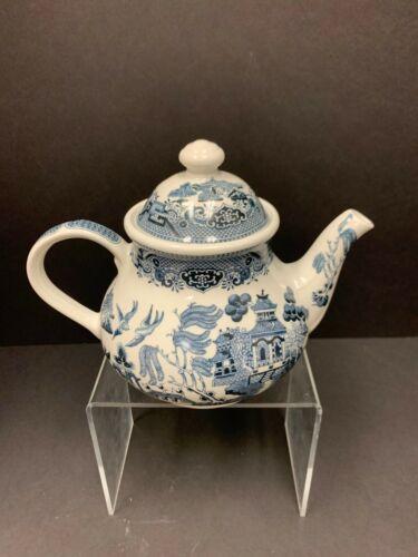 Churchill Blue Willow Georgian Teapot  Made in England Glazed Earthenware