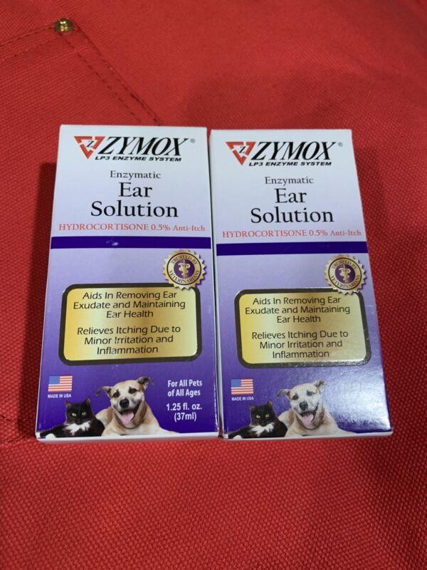 TWO ZYMOX Ear Solution Hydrocortisone 0.5% Inflammation Relief 1.25 oz each