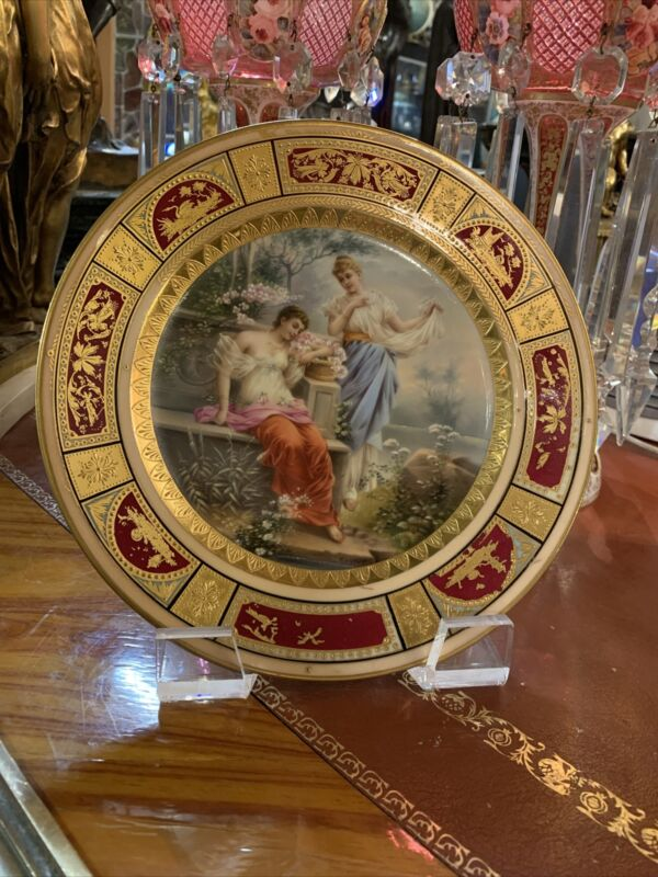 Antique Royal Vienna Hand Painted Porcelain Plate Signed, Circa 1880
