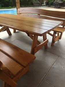 Rustic Oak Patio Dining Set with Matching Benches