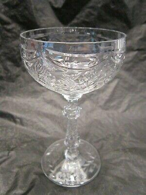 CRYSTAL AUSTRIAN BARWARE WINE GLASS LONG STEM COCKTAIL CORDIAL ENGRAVED DESIGN Engraved Crystal Barware