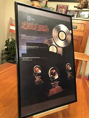 "2 BIG 11X17 FRAMED BEE GEES ""SPIRITS HAVING FLOWN"" LP ALBUM CD PROMO ADS + BONUS"