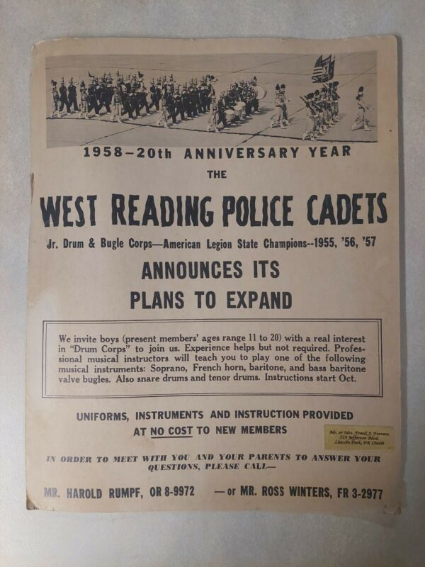 1958 West Reading Police Cadets Jr Drum & Bugle 20th Anniversary Cardboard Sign