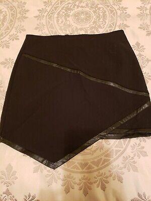 G By Guess Black Asymmetrical Faux Leather Trim Mini Skirt XS