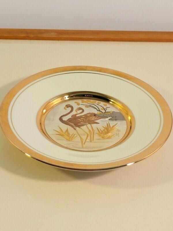 Vintage Art of Chokin Decorative Plate FLAMINGO White 24k Gold Edge Japan