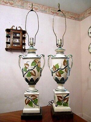 Vtg BERGER SWIVEL HARP France Set of 2 Hand Painted Porcelain Table Lamps Signed