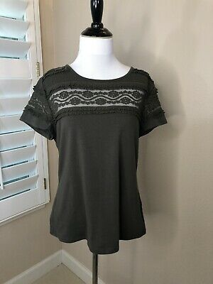Women's H&M Olive Green Color Short Sleeve Top with Lace Panel Neckline - Large