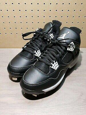 Size 8.5,9.5 Nike Air Jordan IV 4 Retro Metal Baseball Cleats Black 807710-010