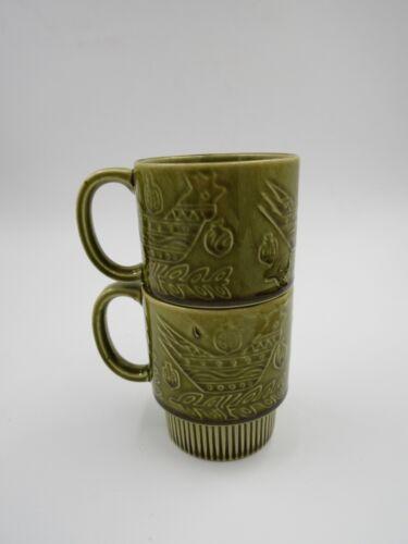 Vintage Avocado Green Nesting Coffee Mugs Set of 2 Stackable Coffee Mugs Japan
