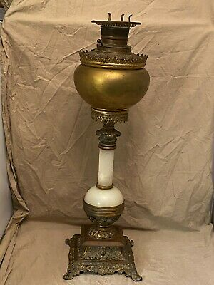 Antique Victorian Banquet Oil Lamp Alabaster Column NON-ELECTRIC