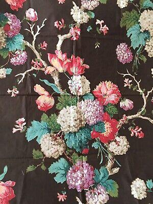 Antique Vintage English Hydrangea Floral Chintz Cotton Fabric ~ Turquoise Rose
