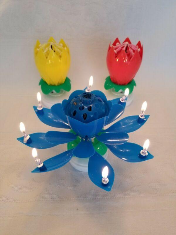 3 velas de cumpleaños mágicas calientes - PAQUETE de 3 azul amarillo y rojo ENVÍ