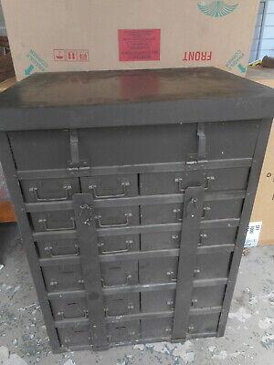 Vtg Military Machine Age Industrial Metal 18 Drawer Parts Storage Cabinet Army