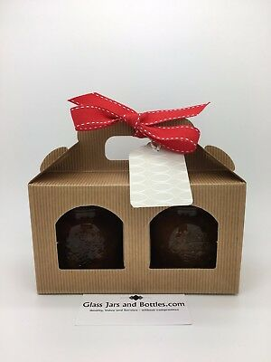 Jam Jar Kraft Gift Box 2 Window including Latte Oval tags and ribbon - Pack of 6
