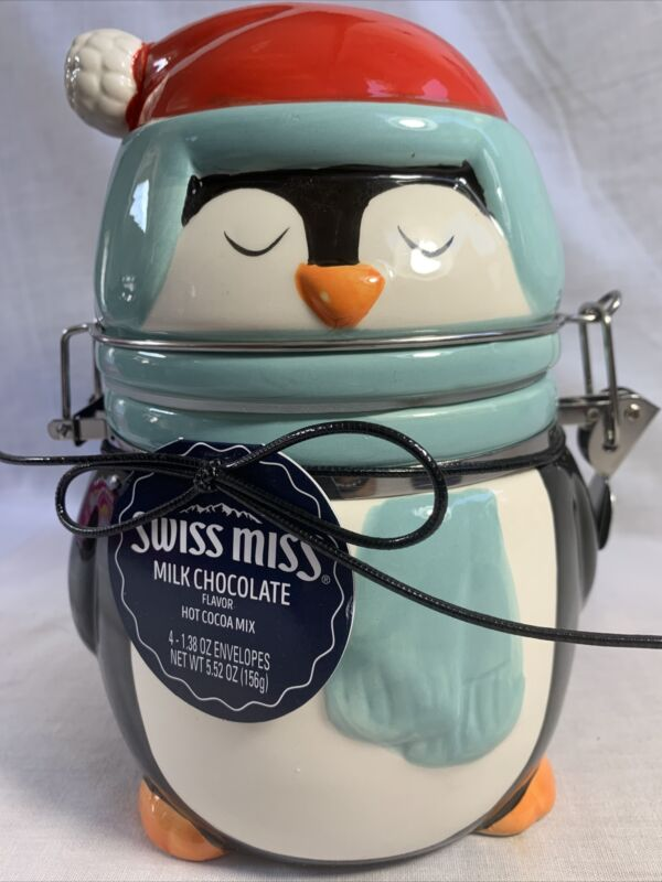 Conagra Holiday Ceramic Swiss Miss Pinguin Canister with Hinged Lid.