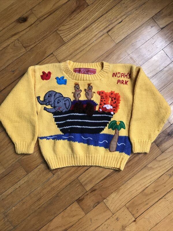 Aunti M's 1989 Vintage Noah's Ark Yellow Knit Sweater Small 3T 4T