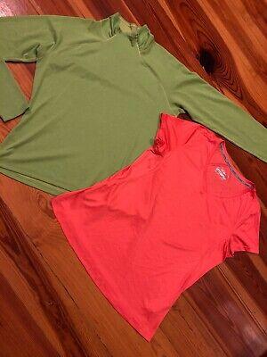 Lot Of 2 Women's Patagonia Prolonged Sleeve Activewear & Jockey V Neck T-shirt, XL