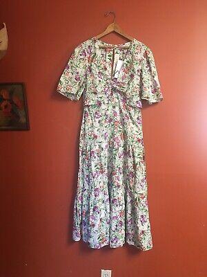 NWT Zara Floral Peekaboo Tie Front Open Back Ruffle Hem Full Skirt Maxi Dress XL