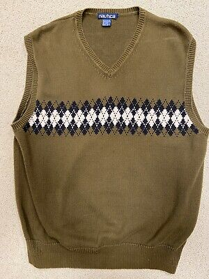 Mens Nautica Sweater Vest, Large, Olive, Argyle, Cotton