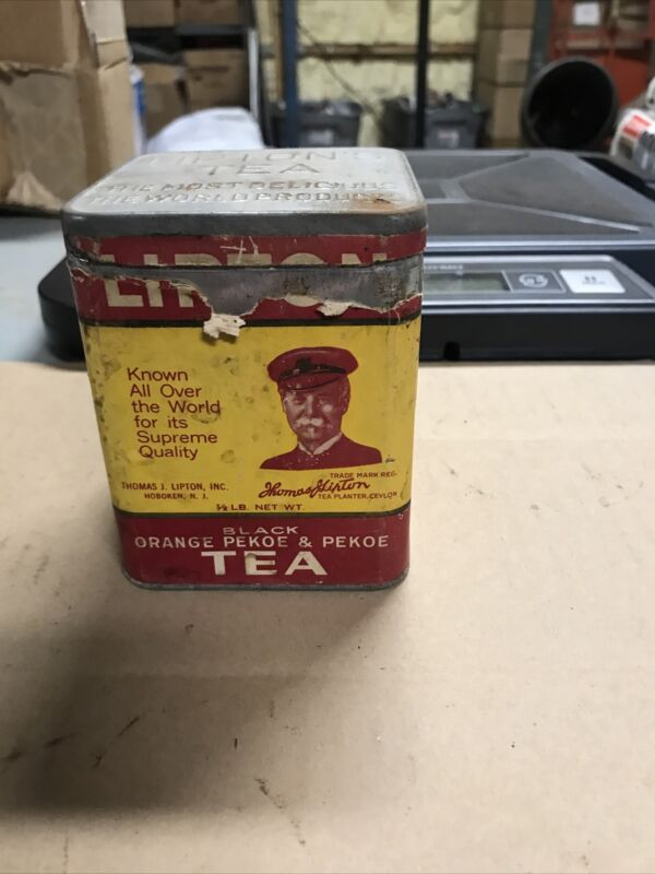 Vintage Lipton Tea Tin Can With Paper Label Advertising Very Rare! Original Lid!
