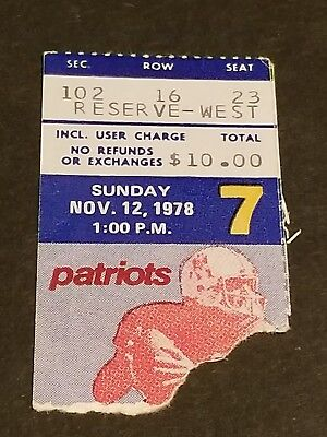 TICKET STUB NOVEMBER 12 1978 NEW ENGLAND PATRIOTS VS HOUSTON OILERS EARL CAMPBEL