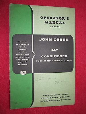 Vintage Original John Deere Hay Conditioner Ser. No.14001 Up Operators Manual