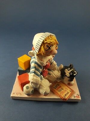 Peter Fagin Circus Clown with Cat Figurine