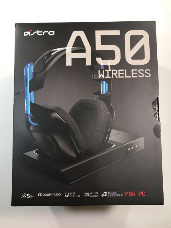 Astro Gaming A50 Wireless Dolby 7.1 Surround Sound Gaming Headset for PlayStation 4 and Windows Black and Blue 939-001516