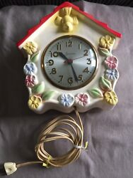 Vintage Working 1940's Birdhouse Kitchen Wall Clock With Sessions Movement