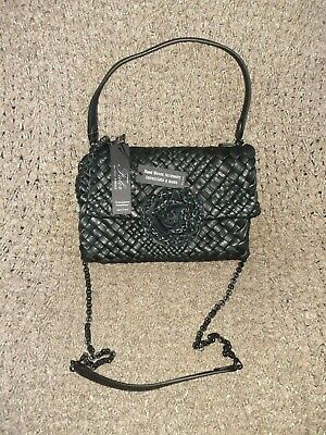 FALOR Falorni-F2101-Black WOVEN INTRECCIATO Leather w/Rosette-Chain Strap-NWT