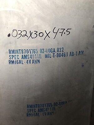 .032 X 20 X 48 6al-4v Titanium Sheet.