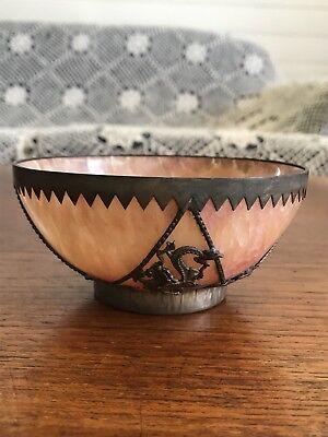 Antique Chinese Pink Hardstone Crystal  Bowl Metal Casing Dragon Stamped To Base