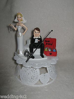 Wedding Reception Party ~No Fishing~ Cake Topper Ball & Chain Sassy Bride Funny (Fishing Cake Toppers)
