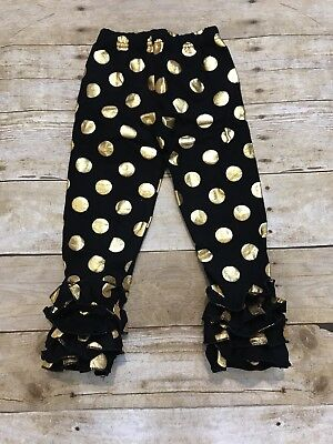 Polka Dot Ruffle Legging - Black And Gold Polka Dot Girls Ruffle Pants Leggings Size 12-18 Months Boutique