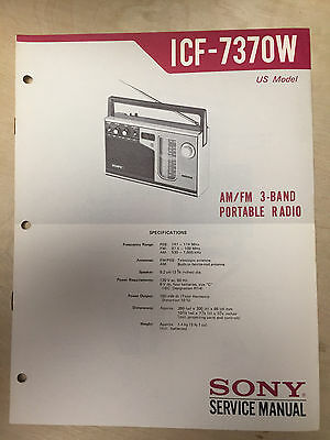 Sony Service Manual for the ICF-7370W Receiver Radio ~ Repair ~ Original