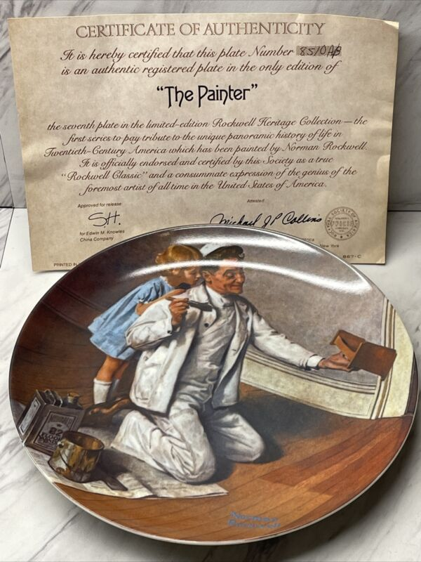"""Vintage Norman Rockwell Collector Plate """"The Painter"""" by Knowles, Numbered plate"""