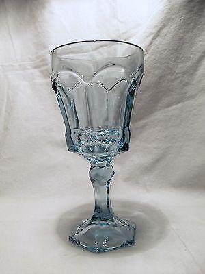 (*NEW* 8 Vintage Fostoria CRYSTAL light BLUE water GOBLET glass VIRGINIA)
