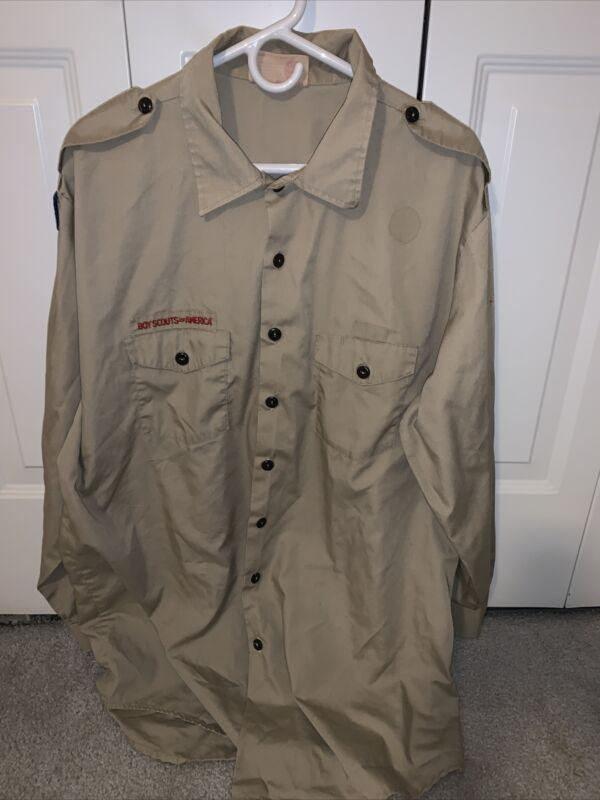 Boy Scout BSA UNIFORM SHIRT Mens 2XL Long Sleeve Tan L37
