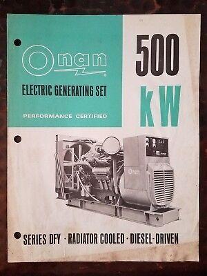 Onan 500 Kw Electric Generating Set Brochure
