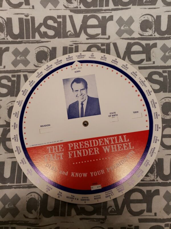 1968 Washington to Nixon The Presidential Fact Finder Wheel