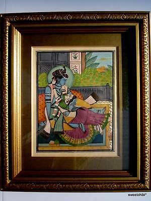 VINTAGE Miniature Framed Rajastan India Painting KRISHNA and RADAH Sublime Love