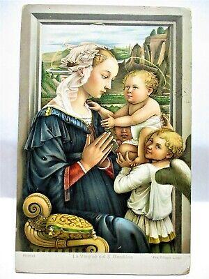 1910 ITALIAN POSTCARD VIRGIN WITH CHILD, LA VERGINE COL S. BAMBINO
