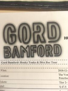 Gord Bamford tickets for tonight in Peterborough