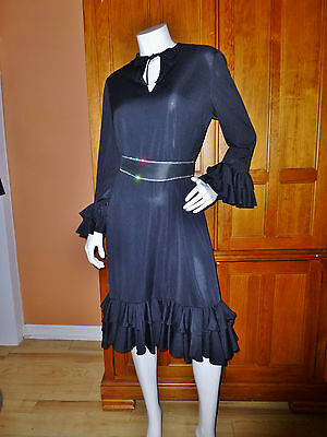 80s Dresses   Casual to Party Dresses BARON PETERS Vtg 70s 80s Silky Jersey Ruffles Key Hole Boho Cocktail Party DRESS $39.10 AT vintagedancer.com