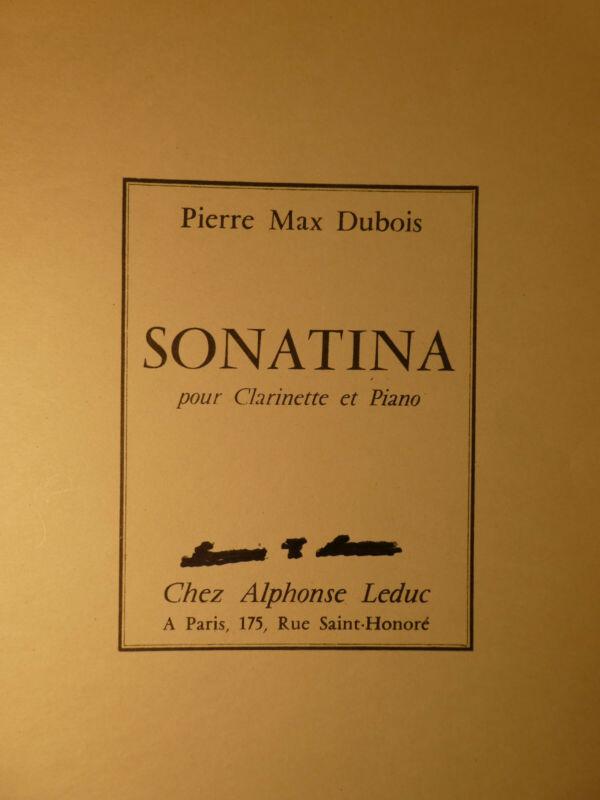 SONATINA-PIERRE MAX DUBOIS Bb CLARINET & PIANO   FREE SHIPPING