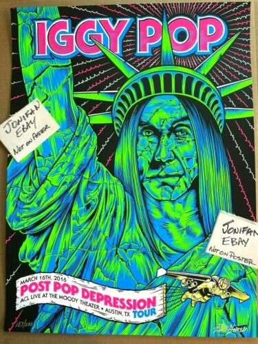 IGGY POP 2016 AUSTIN CITY LIMITS ACL BLACKLIGHT CONCERT POSTER SIGNED S/N #/240